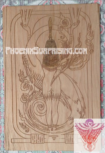 Cartouche by Phoenix & Arabeth (laser engraved on wood)